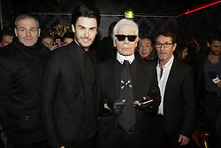 Baptiste Giabiconi and Karl Lagerfeld attending the Giabiconi Style Party held at the VIP Room night club in Paris, France on February 28, 2015. Photo by Jerome Domine/ABACAPRESS.COM