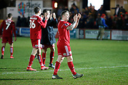 Accrington Stanley midfielder Scott Brown (8) applauds the fans at full time during the The FA Cup 3rd round match between Accrington Stanley and Ipswich Town at the Fraser Eagle Stadium, Accrington, England on 5 January 2019.