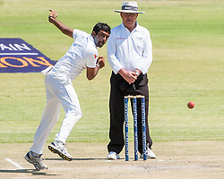 Sri Lanka bowler Dilruwan Perera in action during the third day of the 100th test match for Zimbabwe played in a series of two matches with Sri Lanka at Harare Sports Club 31 October 2016.