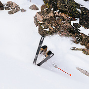 Bob Kilmain pulling it together after a monster back flip in the Teton backcountry.