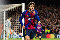 BARCELONA, March 14, 2019  Barcelona's Gerard Pique celebrates after scoring during the UEFA Champions League match between Spanish team FC Barcelona and French team Lyon in Barcelona, Spain, on March 13, 2019. Barcelona won 5-1 and advanced to the quarterfinals. (Credit Image: © Joan Gosa/Xinhua via ZUMA Wire)