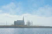 Church in fog on Long Lake<br />