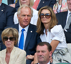 29.06.2011, Wimbledon, London, GBR, ATP World Tour, Wimbledon Tennis Championships, im Bild Golfer Greg Norman with his wife Kirsten Kutner, during the Gentlemen's Singles Quarter-Final match on day nine of the Wimbledon Lawn Tennis Championships at the All England Lawn Tennis and Croquet Club. EXPA Pictures © 2011, PhotoCredit: EXPA/ Propaganda/ David Rawcliffe +++++ ATTENTION - OUT OF ENGLAND/UK +++++