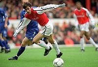Robert Pires (Arsenal) Gary Rowett (Leicester City). Arsenal 6:1 Leicester City, FA Carling Premiership, 26/12/2000. Credit Colorsport / Stuart MacFarlane.