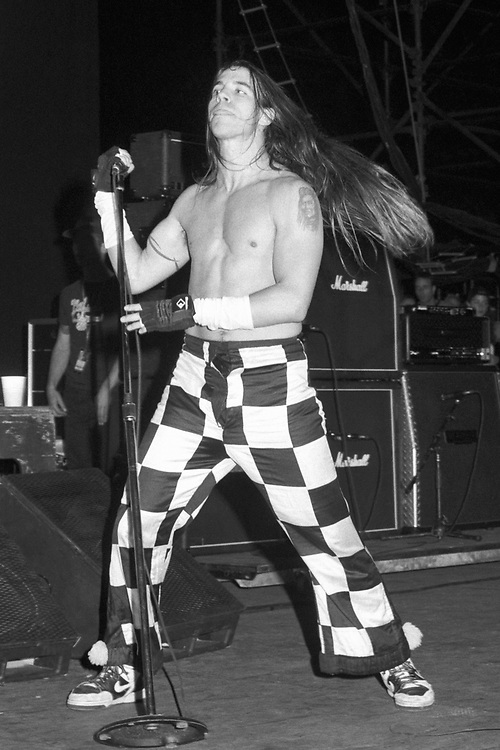 STANHOPE - AUGUST 11: Singer Anthony Kiedis of Red Hot Chili Peppers performs during Lollapalooza at Waterloo Village on August 11, 1992 in Stanhope, New Jersey. (Photo by Lisa Lake)