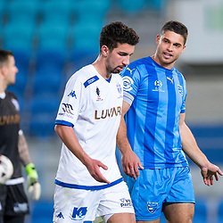 BRISBANE, AUSTRALIA - SEPTEMBER 20: Jarrod Kyle of Gold Coast City and Kristian Konstantinidis of South Melbourne in conversation during the Westfield FFA Cup Quarter Final match between Gold Coast City and South Melbourne on September 20, 2017 in Brisbane, Australia. (Photo by Gold Coast City FC / Patrick Kearney)