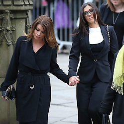 © Licensed to London News Pictures . 18/03/2016 . Manchester , UK . Alison King and Kym Marsh arrive at the service. Television stars and members of the public attend the funeral of Coronation Street creator Tony Warren at Manchester Cathedral . Photo credit : Joel Goodman/LNP