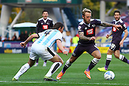 Johnny Russell of Derby County looks to get away from Dean Whitehead of Huddersfield town. Skybet football league Championship match, Huddersfield Town v Derby county at the John Smith's Stadium in Huddersfield , Yorkshire on Saturday 24th October 2015.<br /> pic by Chris Stading, Andrew Orchard sports photography.