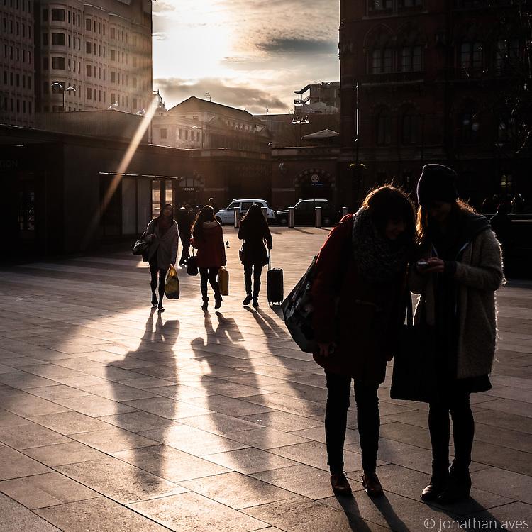 Early evening winter sunshine, Kings Cross Railiway Station, London, UK