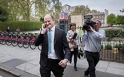 © Licensed to London News Pictures. 20/04/2017. London, UK. Former Conservative and UKIP MP Douglas Carswell is chased by a TV crew near Parliament after it was announced that he will not contest his Clacton-on-Sea parliamentary seat in the geneneral election on June 8th 2017. Photo credit: Peter Macdiarmid/LNP