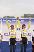 Poznan, POLAND.   2004 FISA World Cup, Malta Lake Course.  <br /> <br /> W2-  medals left to right <br />  Georeta Andrunache and Viorica Susunu gold medalist <br />  <br /> 09.05.2004<br /> <br /> [Mandatory Credit:Peter SPURRIER/Intersport Images]