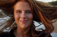 Mimmi Widstrand, portrait on the beach, Maui, Hawaii.
