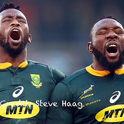 Siya Kolisi (captain) of South Africa with Tendai (Beast) Mtawarira of South Africa during the 2018 Castle Lager Incoming Series 2nd Test match between South Africa and England at the Toyota Stadium.Bloemfontein,South Africa. 16,06,2018 Photo by (Steve Haag JMP)