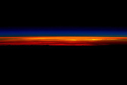 March 1, 2016 - Earth: RISE AND SHINE! NASA astronaut Scott Kelly, photograph of his last sunrise of his year long mission in Space, as he prepares to depart the International Space Station and return to Earth aboard a Soyuz TMA-18M spacecraft. Kelly wrote, 'Rise and shine! My last sunrise from space then I gotta go.' Kelly has participated in a variety of research that will help scientists better understand how the human body reacts and adapts to long-duration spaceflight.(Credit Image: © Scott Kelly/NASA via ZUMA Wire)