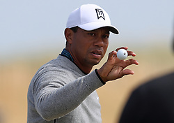 USA's Tiger Woods on the driving range during preview day four of The Open Championship 2018 at Carnoustie Golf Links, Angus.