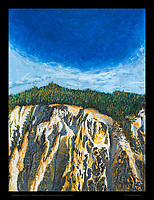 """""""Under Blue Dome, Yellowstone Canyon"""" - Acrylic on canvas, 12x16 inches"""