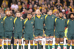 © Licensed to London News Pictures. 16/06/2012. Etihad Stadium, Melbourne Australia. Australian players sing the national anthem during the 2nd Rugby Test between Australia Wallabies Vs Wales . Photo credit : Asanka Brendon Ratnayake/LNP