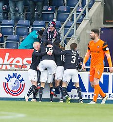 Falkirk's James Craigen (28) cele scoring their third goal. Falkirk 3 v 0 Dundee United, Scottish Championship game played 11/2/2017 at The Falkirk Stadium.