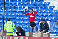 Gareth Bale of Wales gets his ball back from the stand  during Wales football team training session at the Cardiff city stadium  in Cardiff, South Wales  on Monday 12th October 2015. The team are training ahead of their final Euro 2016 qualifying against Andorra tomorrow.<br /> pic by  Mark Hawkins, Andrew Orchard sports photography.