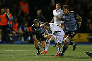 Nick Grigg of Glasgow Warriors © breaks away from Josh Turnbull of Cardiff Blues.  Guinness Pro14 rugby match, Cardiff Blues v Glasgow Warriors Rugby at the Cardiff Arms Park in Cardiff, South Wales on Saturday 16th September 2017.<br /> pic by Andrew Orchard, Andrew Orchard sports photography.