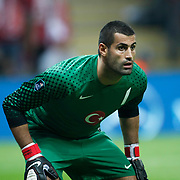 Turkey's goalkeepers Volkan DEMIREL during their UEFA EURO 2012 Qualifying round Group A matchday 19 soccer match Turkey betwen Germany at TT Arena in Istanbul October 7, 2011. Photo by TURKPIX
