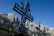 Iron crosses in the churchyard of Colfosco, south Tyrol, Italy.