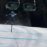 Winter Olympics, Vancouver, 2010. Anja Paerson, Sweden, crashing out  in the Alpine Skiing Ladies downhill at Whistler Creekside, Whistler, during the Vancouver  Winter Olympics. 17th February 2010. Photo Tim Clayton