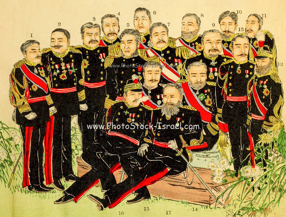 Group painting of Japanese Naval and Military Officers. From the book 'Scenes from the Japan-China War' by Inouye, Jukichi, 1862-1929; Yamamoto, Eiki, illustrator. Published in Tokyo in 1895 with English Text. The First Sino-Japanese War (25 July 1894 – 17 April 1895) was a conflict between the Qing dynasty of China and the Empire of Japan primarily over influence in Joseon Korea. After more than six months of unbroken successes by Japanese land and naval forces and the loss of the port of Weihaiwei, the Qing government sued for peace in February 1895.