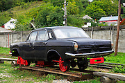 Viseu de Sus Steam Engine, Maramures County, Romania Car on tracks