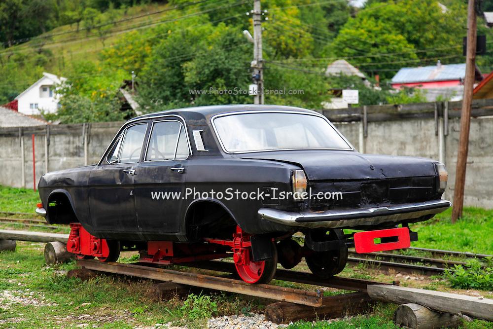Viseu de Sus Steam Engine, Maramures County, Romania Car on tracks