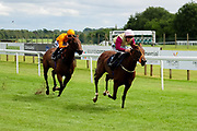 Big Time Maybe ridden by Harry Bentley and trained by Michael Attwater in the Best Free Tips At Valuerater.Co.Uk Handicap (Bath Summer Sprint Series Qualifier) (Class 6) race. Three Little Birds ridden by Williams Carver and trained by Sylvester Kirk in the Best Free Tips At Valuerater.Co.Uk Handicap (Bath Summer Sprint Series Qualifier) (Class 6) race. - Ryan Hiscott/JMP - 07/08/2019 - PR - Bath Racecourse - Bath, England - Race Meeting at Bath Racecourse