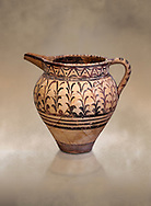 Minoan decorated ewer jug  from the  Knossos-Little Palace 1600-1450 BC, Heraklion Archaeological  Museum. .<br /> <br /> If you prefer to buy from our ALAMY PHOTO LIBRARY  Collection visit : https://www.alamy.com/portfolio/paul-williams-funkystock/minoan-art-artefacts.html . Type -   Heraklion   - into the LOWER SEARCH WITHIN GALLERY box. Refine search by adding background colour, place, museum etc<br /> <br /> Visit our MINOAN ART PHOTO COLLECTIONS for more photos to download  as wall art prints https://funkystock.photoshelter.com/gallery-collection/Ancient-Minoans-Art-Artefacts-Antiquities-Historic-Places-Pictures-Images-of/C0000ricT2SU_M9w
