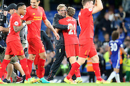 Jurgen Klopp, the Liverpool manager hugs Lucas Leiva of Liverpool after the final whistle.Premier league match, Chelsea v Liverpool at Stamford Bridge in London on Friday 16th September 2016.<br /> pic by John Patrick Fletcher, Andrew Orchard sports photography.