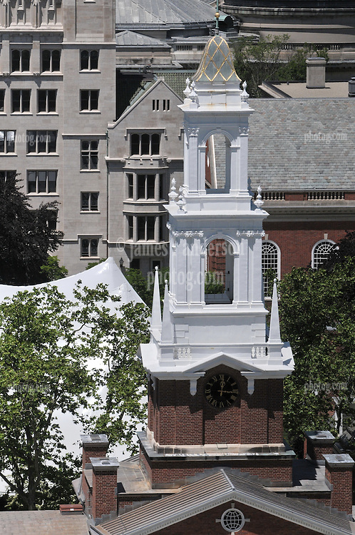 Timothy Dwight Steeple foreground, Silliman College background. Alumni Reunion Weekend. Tent in Courtyard | Yale University New Haven CT. As seen from the roof of New Haven County Courthouse on Church Street.