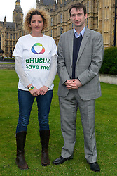 © Licensed to London News Pictures. 14/05/2013. Westminster, UK Emma Woodward, John Leech MP. Patients campaigning for a life-saving treatment to be made available for all sufferers of the rare blood disease atypical Haemolytic Uraemic Syndrome (aHUS) present an urgent petition with over 30,000 signatures to MPs at the House of Commons on Tuesday May 14 2013... Photo credit : Stephen Simpson/LNP