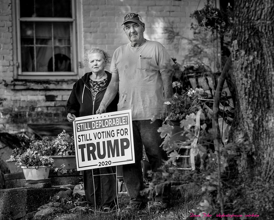 Campaign 2020 - voter profiles - James and Joan Heimer of Plainfield Township, Northampton County, Pa., stand in front of their home Wednesday, October 7, 2020.