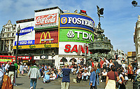 Picadilly Circus, Statue of Eros, London, England, UK, tourist destination, favourite, meeting place, landmark, tourists, travel, 199808005.<br /> <br /> Copyright Image from Victor Patterson, Belfast, UK<br /> <br /> t: +44 28 9066 1296 (from Rep of Ireland 048 9066 1296)<br /> m: +44 7802 353836<br /> e: victorpattersonbelfast@gmail.com<br /> <br /> www.images4media.com<br /> <br /> Please see my full Terms and Conditions of Use at https://www.images4media.com/p/terms-conditions - it is IMPORTANT that you familiarise yourself with them.<br /> <br /> Images used online incur an additional cost. This cost should be agreed in writing in advance. Online images must be visibly watermarked i.e. © Victor Patterson or that of the named photographer within the body of the image. The original metadata must not be deleted from images used online.<br /> <br /> This image is only available for the use of the download recipient i.e. television station, newspaper, magazine, book publisher, etc, and must not be passed on to a third party. It is also downloaded on condition that each and every usage is notified within 7 days to victorpattersonbelfast@gmail.com.