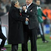Turkey's coach Guus HIDDINK (R) during their UEFA EURO 2012 Qualifying round Group A soccer match Turkey betwen Austria at Sukru Saracoglu stadium in Istanbul March 29, 2011. Photo by TURKPIX