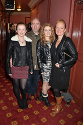 Left to right, actress MAISIE SMITH - Tiffany Butcher in the BBC soap opera EastEnders, her father STEPHEN SMITH, SCARLETT SMITH and mother JULIA SMITH at a VIP evening for the pantomime Aladdin at The New Wimbledon Theatre, The Broadway, Wimbledon, London SW19 on 9th December 2013.
