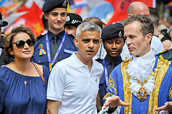 © Licensed to London News Pictures. 08/07/2017. London, UK. Mayor of London, Sadiq Khan, at the head of the parade with the Mayor of Westminter.  Tens of thousands of visitors, many wearing eye-catching costumes, gather to watch and take part in the annual Pride in London Parade, the largest celebration of the LGBT+ community in the UK.   Photo credit : Stephen Chung/LNP