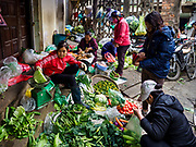 "22 DECEMBER 2017 - HANOI, VIETNAM:  A fruit and vegetable stand on the street of the old quarter of Hanoi. The old quarter is the heart of Hanoi, with narrow streets and lots of small shops but it's being ""gentrified"" because of tourism and some of the shops are being turned into hotels and cafes for tourists and wealthy Vietnamese.   PHOTO BY JACK KURTZ"