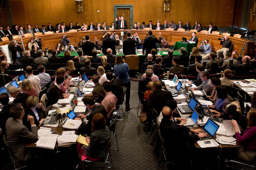 The first panel of witness is sworn it at a Homeland Security and Governmental Affairs Subcommittee hearing on permanent investigations regarding the financial crisis on Capitol Hill on Tuesday, April 27, 2010 in Washington.
