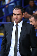 Derby County Head Coach Paul Clement looks on prior to kick off. Skybet football league championship match, Bolton Wanderers v Derby County at the Macron stadium in Bolton, Lancs on Saturday 8th August 2015.<br /> pic by Chris Stading, Andrew Orchard sports photography.