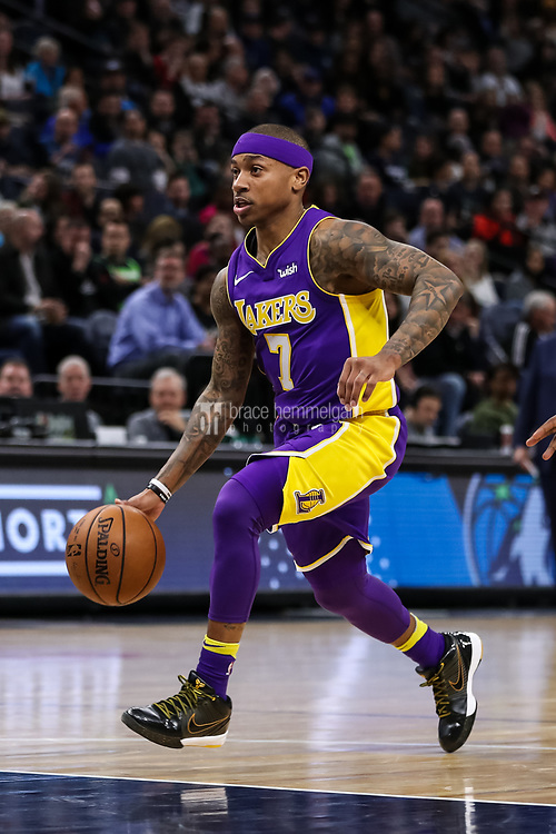 Feb 15, 2018; Minneapolis, MN, USA; Los Angeles Lakers guard Isaiah Thomas (7) during a game between the Minnesota Timberwolves and Los Angeles Lakers at Target Center. Mandatory Credit: Brace Hemmelgarn-USA TODAY Sports