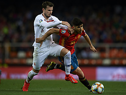March 23, 2019 - Valencia, Valencia, Spain - Marco Asensio of Spain and Havard Nordtveit of Norway battle for the ball during the 2020 UEFA European Championships group F qualifying match between Spain and Norway at Estadi de Mestalla on March 23, 2019 in Valencia, Spain. (Credit Image: © Jose Breton/NurPhoto via ZUMA Press)
