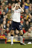 Photo. Aidan Ellis.<br />Manchester United v Tottenham Hotspur.<br />FA Barclaycard Premiership.<br />20/03/2004.<br />Spurs Dean Marney cant believe he has missed a chance to score