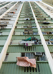 Typical social housing apartment block exterior at Shek Kip Mei in Kowloon, Hong Kong.