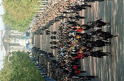 The view down The Mall  as the funeral cortege of Diana, Princess of Wales makes its way to Westminster Abbey.