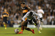Floyd Ayite of Fulham falls as he is pushed by Daryl Janmaat of Newcastle United. Skybet EFL championship match, Fulham v Newcastle Utd at Craven Cottage in Fulham, London on Friday 5th August 2016.<br /> pic by John Patrick Fletcher, Andrew Orchard sports photography.