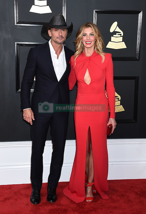 Celebrities arrive on the red carpet for the 59th Grammy Awards held at the Staples Centre in downtown Los Angeles, California. 12 Feb 2017 Pictured: Tim McGraw and Faith Hill. Photo credit: MEGA TheMegaAgency.com +1 888 505 6342